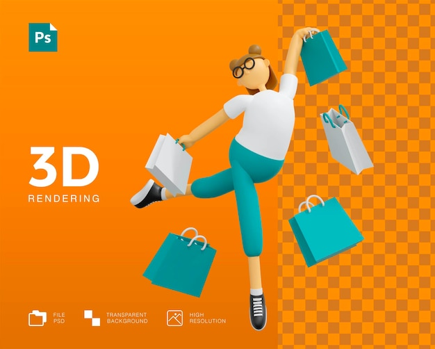 3d 쇼핑 소녀 캐릭터 디자인