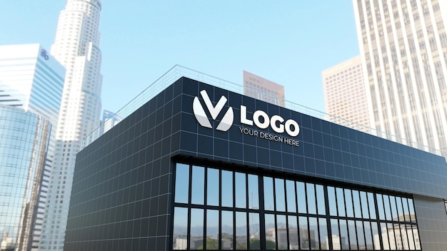 3d sign logo mockup on a black wall company building