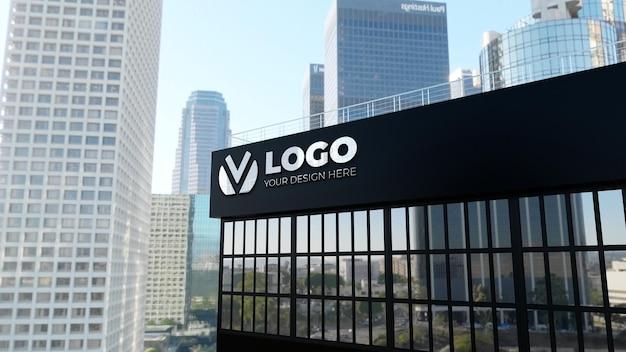 검은 벽 회사 건물에 3d 기호 로고 모형