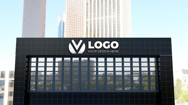 Макет логотипа 3d знака на здании компании black wall