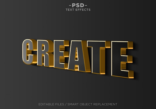 3d sign wall black gold effects editable text