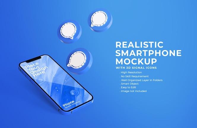 모바일 화면 모형이있는 3d 신호 채팅 아이콘