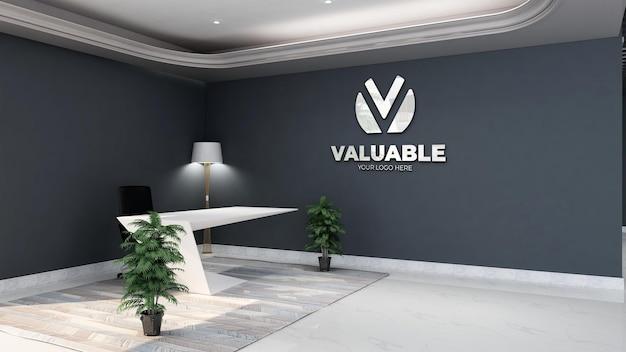 미니멀한 디자인 인테리어가 있는 사무실 안내실의 3d 은색 회사 로고 모형 프리미엄 PSD 파일