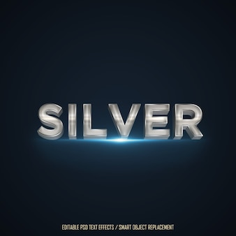 3d silver effect editable text