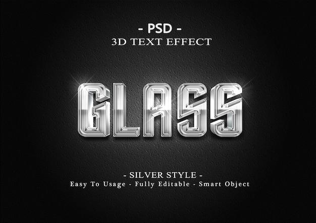 Шаблон эффекта стиля текста 3d серебряного стекла