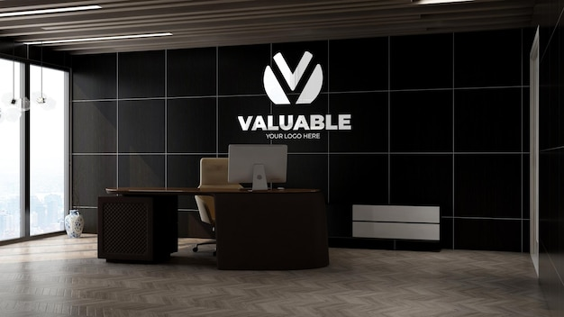 3d silver logo mockup in the office manager wall