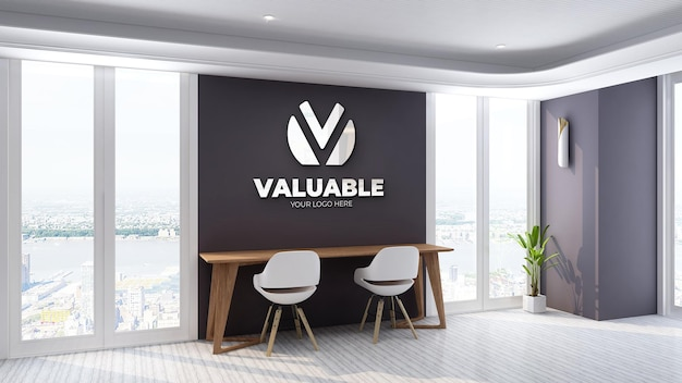 3d silver logo mockup in office workplace with sky view
