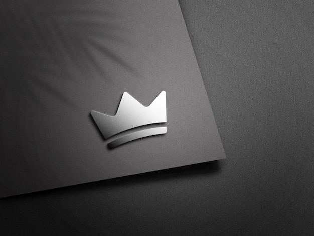 3d silver logo mockup with shadow overlay