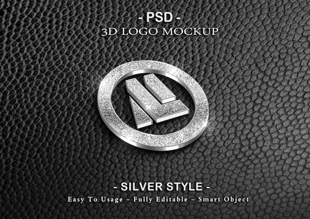 3d silver luxury logo mockup
