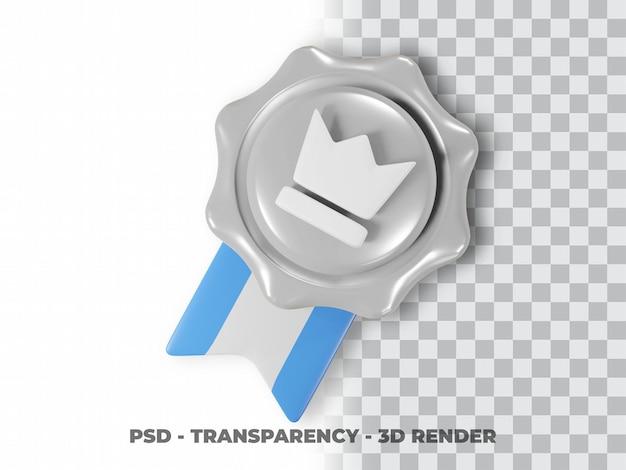 Значок 3d серебряная медаль с прозрачным фоном
