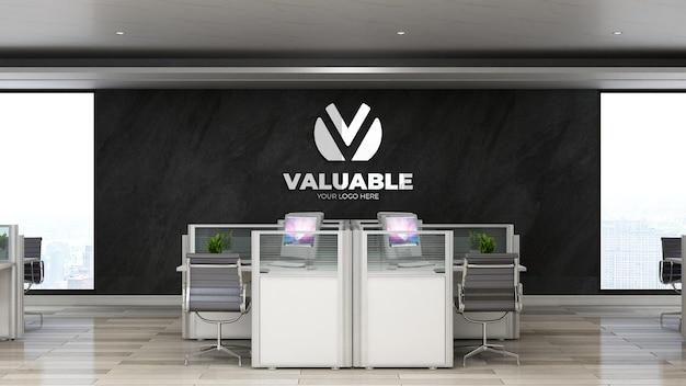 3d серебряный реалистичный макет логотипа компании в офисе или на рабочем месте