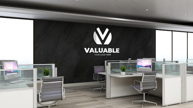 3d silver realistic company logo mockup in office workspace or workplace