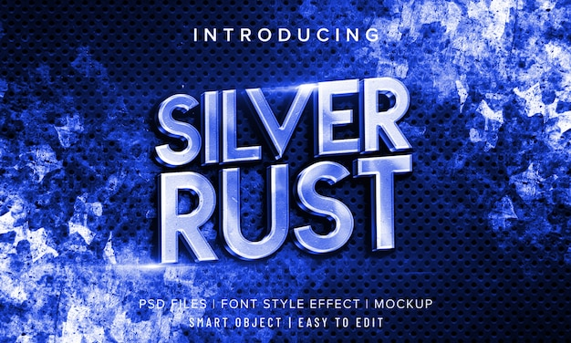 3d silver rust font style
