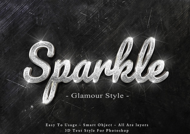 3d silver sparkle text style effect