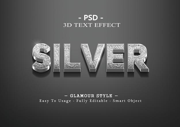 3d серебряный текстовый стиль эффект шаблона