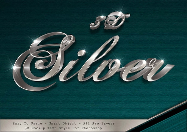 3d silver text style effect