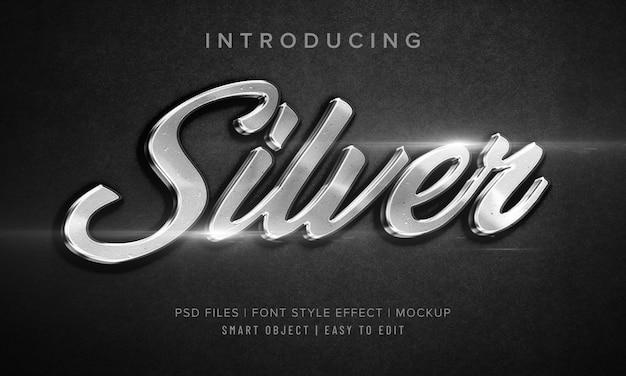3d silver макет стиля шрифта эффект макета