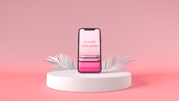 3d smartphone mockup stand on white pedestal