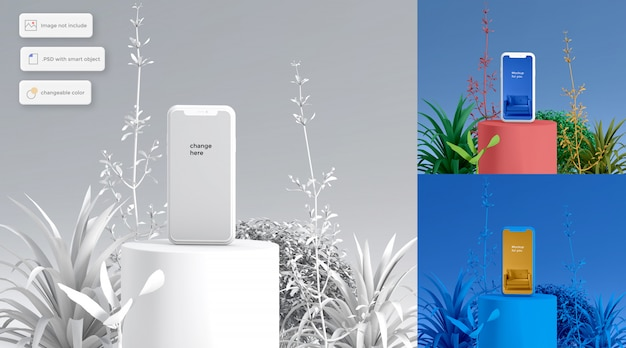 3d-смартфон на подиуме florist