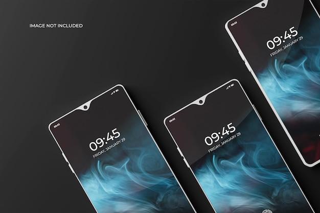 暗いモックアップの3dスマートフォン画面