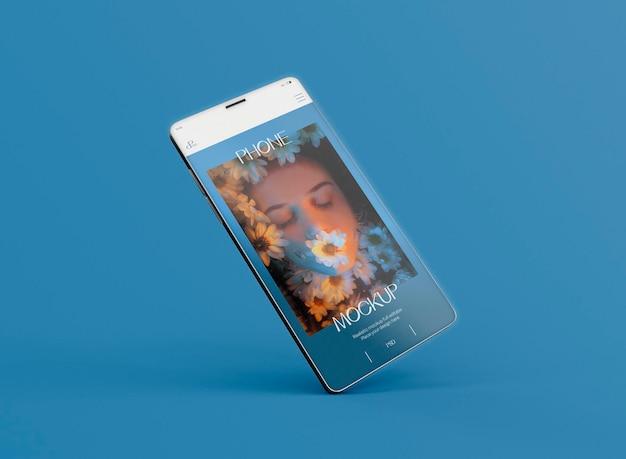 공중에 떠 있는 3d 스마트폰 화면 모형. 이미지가 포함되지 않음