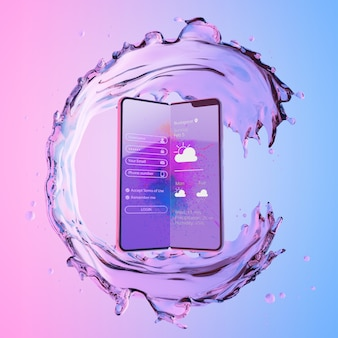 3d smartphone with water effect