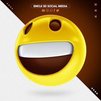3d smiley face emoji with cheerful eyes