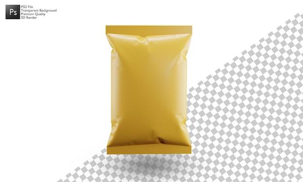 Дизайн иллюстрации мешок закуски 3d на белом фоне