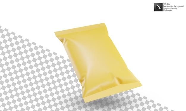 흰색 배경에 3d 스낵 가방 일러스트 디자인