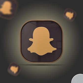3d значок snapchat золотой визуализации