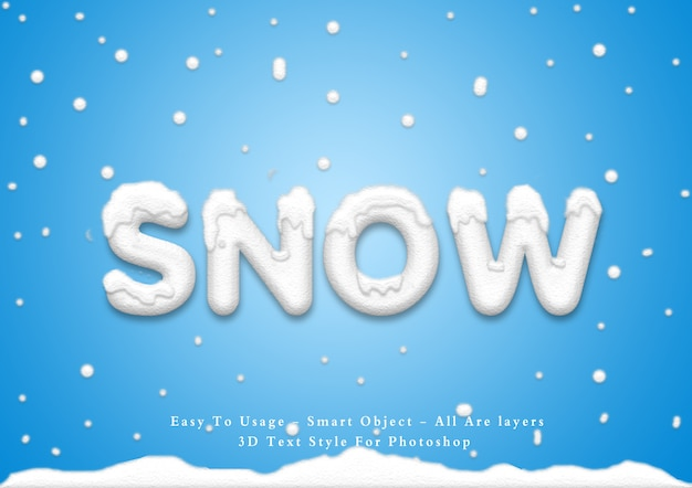3d snow text style effect