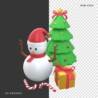 3d снеговик рождественская елка с подарочной коробкой на прозрачном фоне