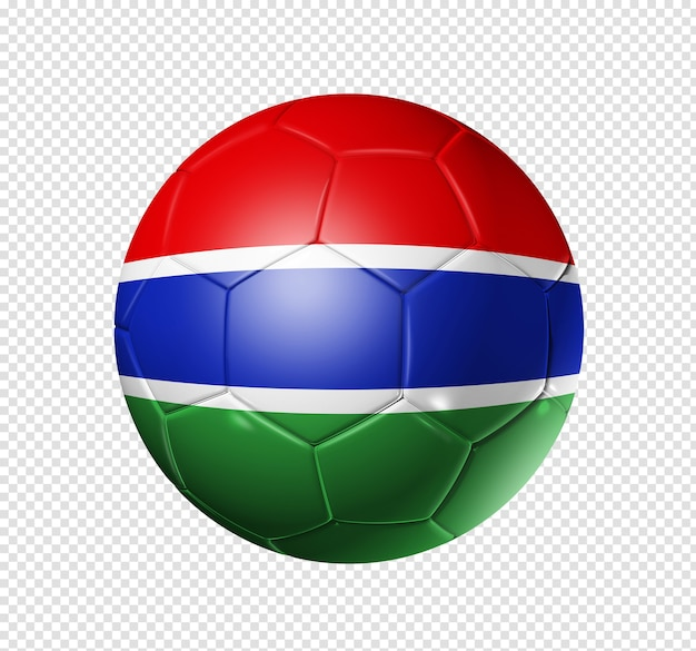 3d soccer ball with gambia team flag