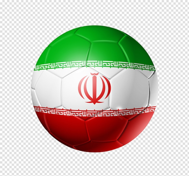 3d soccer ball with iran team flag