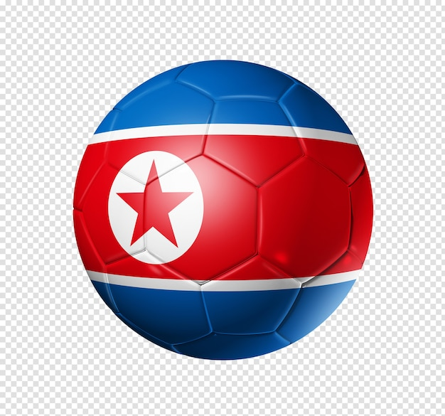 3d soccer ball with north korea team flag