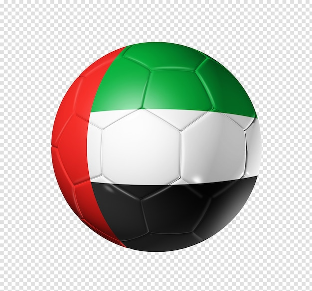 3d soccer ball with united arab emirates team flag