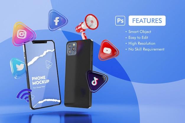스마트 폰 모형이있는 3d 소셜 미디어 앱 아이콘