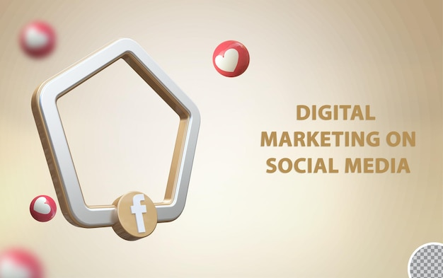 3d социальные сети facebook с макетом рамки