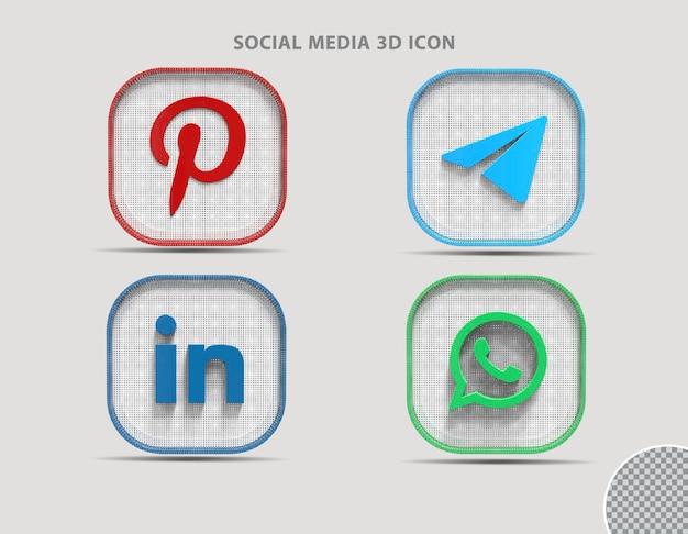 3d 소셜 미디어 아이콘