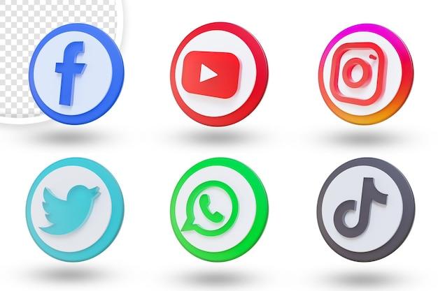3d 소셜 미디어 아이콘 설정 소셜 미디어 로고 컬렉션