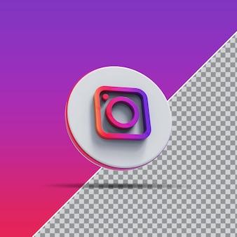 Значок instagram в социальных сетях 3d