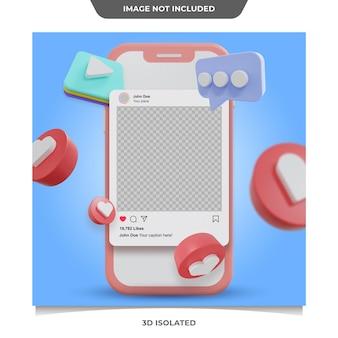 3d 소셜 미디어 instagram 게시물 모형