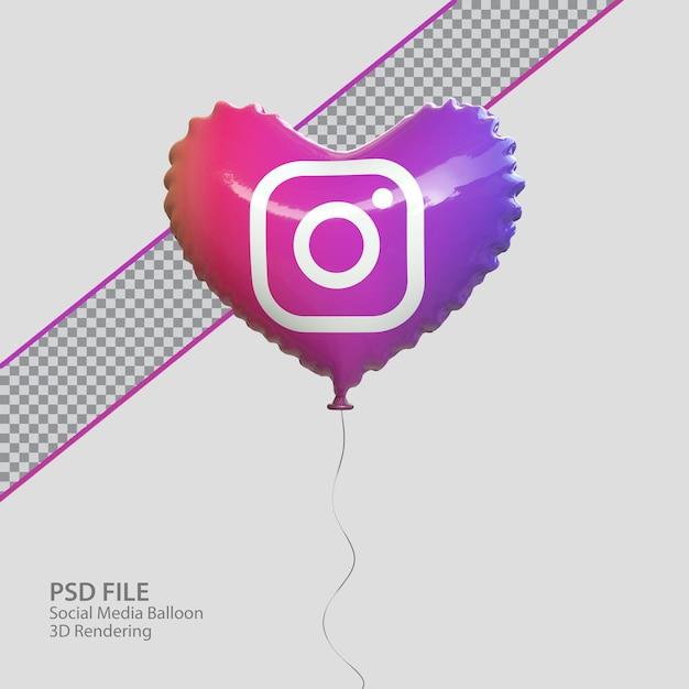 3d instagram в социальных сетях с воздушным шаром