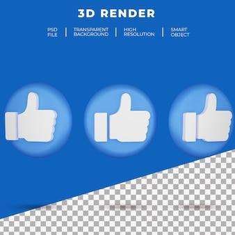 버튼 아이콘 렌더링과 같은 3d 소셜 미디어