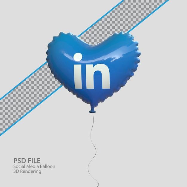 3d социальные сети linkedin в стиле воздушного шара