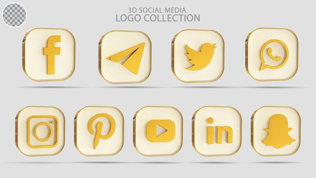 ゴールデンスタイルの3dソーシャルメディアロゴコレクション
