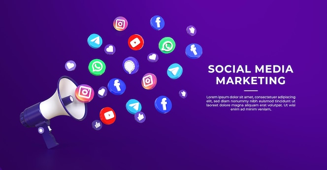 3d 소셜 미디어 마케팅 배너 서식 파일