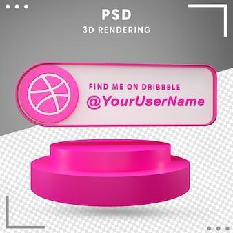 Значок 3d-макета социальных сетей dribbble premium psd