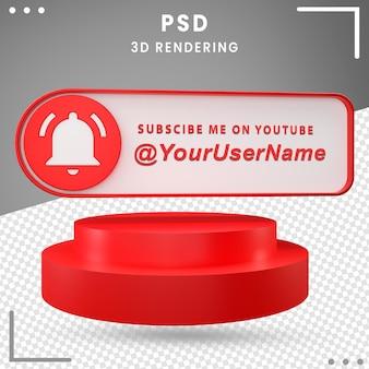 3d значок макета социальных сетей с уведомлением premium psd