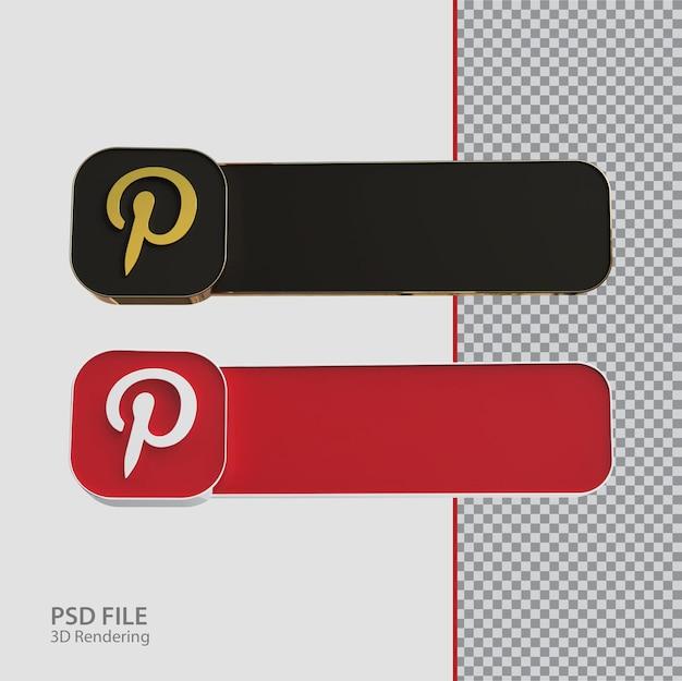 3d 소셜 미디어 pinterest 레이블 크리에이티브